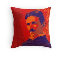 Nikola Tesla by popartworks Throw Pillow