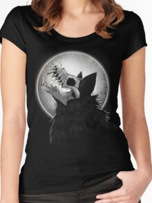 Skull Wolf Howl Women's Fitted Scoop T-Shirt