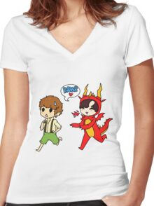 Hob!John and Smaug!lock Women's Fitted V-Neck T-Shirt