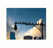 New York Is For The Birds - Manhattan Urban Sillhouette Art Print