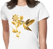 Gold Hummingbird Womens Fitted T-Shirt