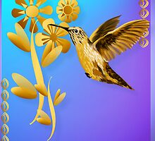 Gold Hummingbird Poster by Lotacats