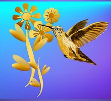 Gold Hummingbird Wider Poster by Lotacats