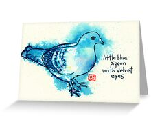 Little Blue Pigeon Greeting Card