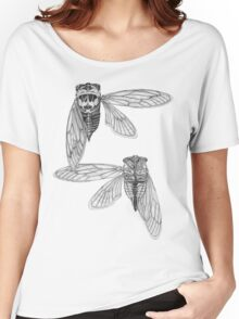 Cicada Study in Black and White Women's Relaxed Fit T-Shirt