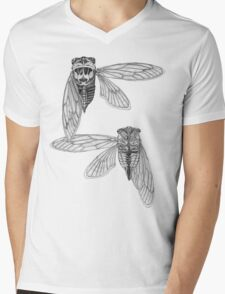 Cicada Study in Black and White Mens V-Neck T-Shirt