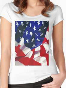 Flag United States of America Women's Fitted Scoop T-Shirt