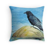 Raven and Rock Throw Pillow