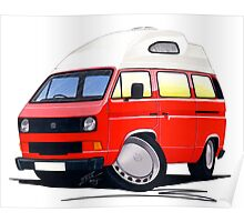 VW T25 / T3 (High Top) Red Poster