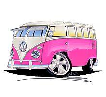 VW Splitty (23 Window) Camper Van Pink Photographic Print