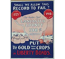 Shall we allow this record to fail Put the gold from your crops in Liberty Bonds 002 Photographic Print