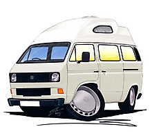 VW T25 / T3 (High Top) White Photographic Print