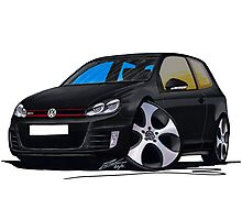 VW Golf GTi (Mk6) Black Photographic Print