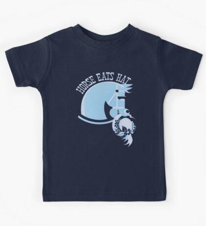 Horse Eats Hat (Blue) Vintage Poster Kids Tee