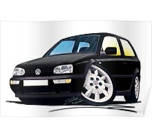 VW Golf (Mk3) Black Poster