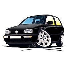 VW Golf (Mk3) Black Photographic Print