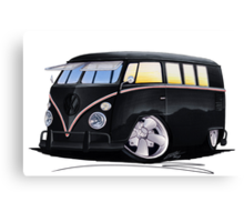 VW Splitty (11 Window) F (Black) Canvas Print