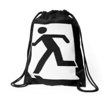 Running Man Exit Sign, Left Hand Drawstring Bag