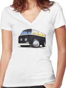 VW Bay Window Camper Van Black Women's Fitted V-Neck T-Shirt