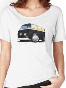 VW Bay Window Camper Van Black Women's Relaxed Fit T-Shirt
