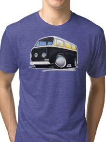 VW Bay Window Camper Van Black Tri-blend T-Shirt