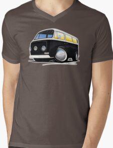 VW Bay Window Camper Van Black Mens V-Neck T-Shirt