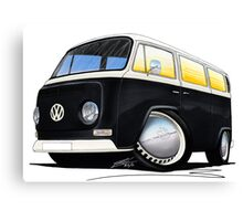 VW Bay Window Camper Van Black Canvas Print