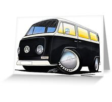 VW Bay Window Camper Van Black Greeting Card