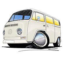 VW Bay Window Camper Van White Photographic Print