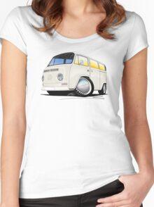 VW Bay Window Camper Van White Women's Fitted Scoop T-Shirt