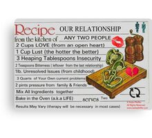 Recipe For Our Relationship Canvas Print