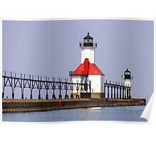 North Pier Lights, St. Joseph, Michigan Poster
