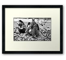 BLACK AND WHITE-FEED THE BIRDS-ONLY RUPEE FOR THE DAY! Framed Print