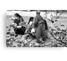 BLACK AND WHITE-FEED THE BIRDS-ONLY RUPEE FOR THE DAY! Canvas Print