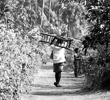 BW-WALKING DOWN THE ROAD-LADDER IN HAND! by HEARTSFORINDIA