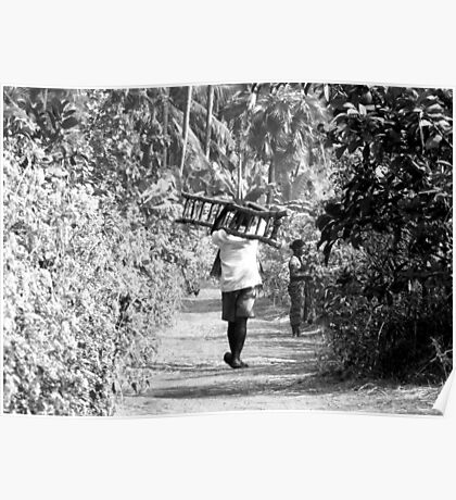 BW-WALKING DOWN THE ROAD-LADDER IN HAND! Poster