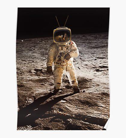 TV Astronaut moon walk Poster