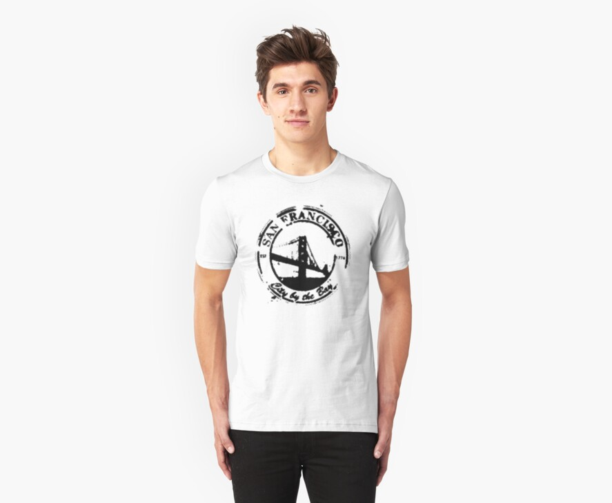 San Francisco - City By The Bay - Grunge Vintage Retro T-Shirt by ddtk