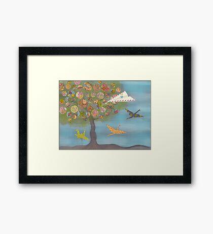 Boy in a Paper Plane flying into the World Map Tree Framed Print
