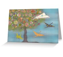 Boy in a Paper Plane flying into the World Map Tree Greeting Card