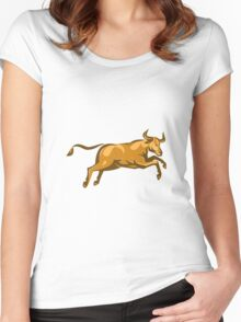 texas longhorn bull jumping side retro Women's Fitted Scoop T-Shirt