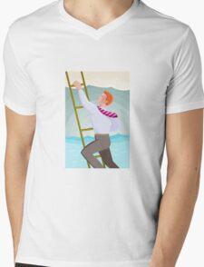 Businessman Officer Worker Climbing Ladder Mens V-Neck T-Shirt