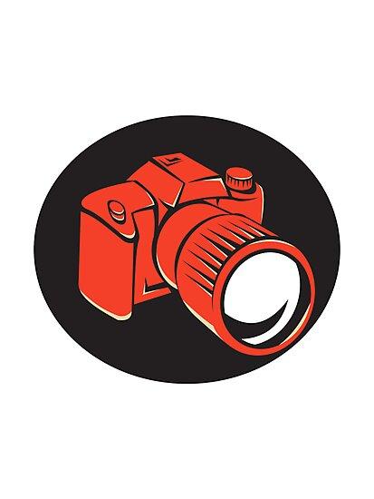 DSLR digital camera front retro by retrovectors