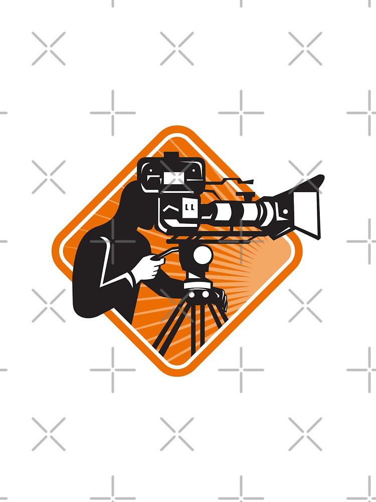 film crew cameraman shooting filming camera by retrovectors