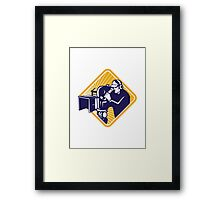 film crew cameraman shooting filming camera Framed Print