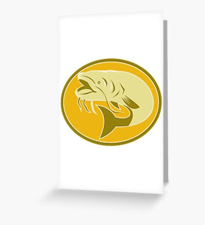 catfish fish retro Greeting Card