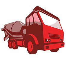 cement truck lorry retro style  by retrovectors