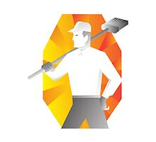 cleaner with broom looking to side retro by retrovectors