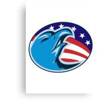 bald eagle american stars and stripes flag Canvas Print