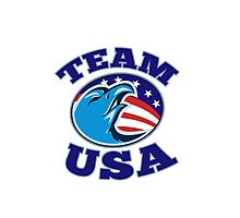 team USA bald eagle american stars and stripes flag  Photographic Print